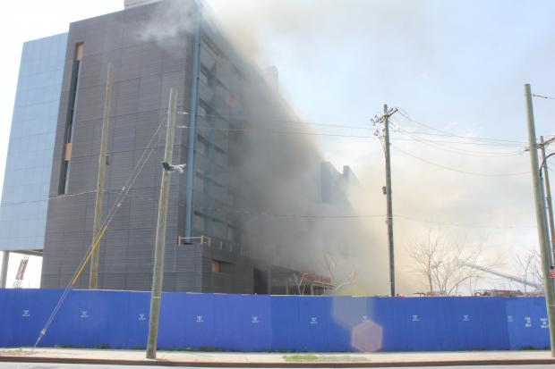 No one was injured in a fire Tuesday at the new NYPD Police Academy in Queens.