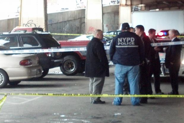 Cops are hunting for a suspect who allegedly restrained a volunteer paramedic at gunpoint, swiped his cash and car keys, then drove off with his emergency response vehicle in Williamsburg Friday morning, April 12, 2013.