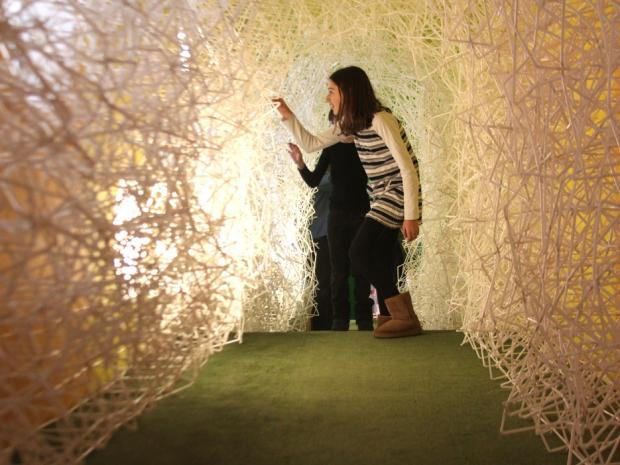A huge sculpture made from thousands of drinking straws debuted April 18, 2013, as the latest interactive feature at the Children's Museum of the Arts in Hudson Square.