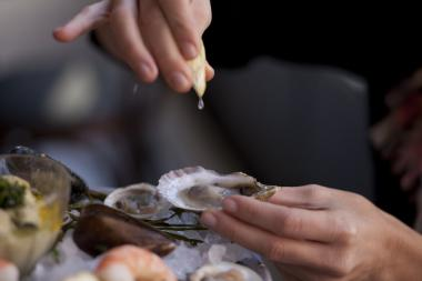 Executive Chef Glenn Harris prefers his oysters without any seasoning.