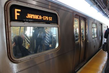 A Jamaica-bound F train pictured making a stop will be one of 7 lines with service disruptions May 10 to 13.