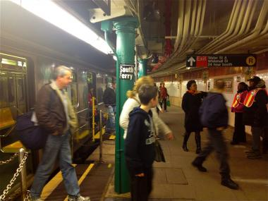The 1 train returned the decommisioned South Ferry subway platform as repairs to the newer station continues.