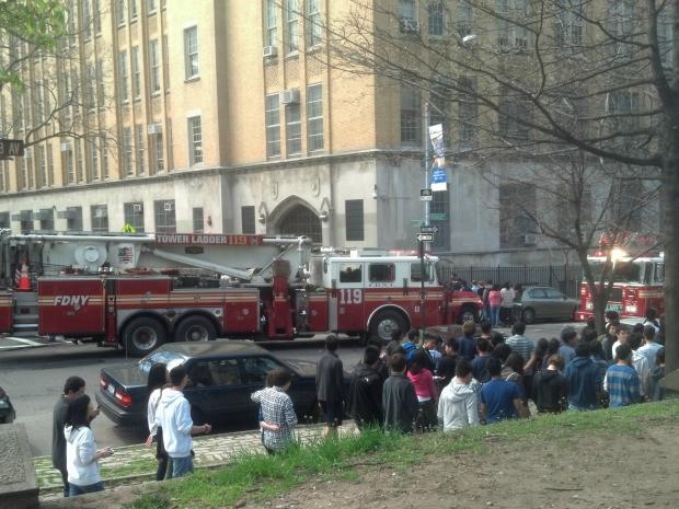 Brooklyn Technical High School was evacuated as a precaution when a fire broke out in a sixth floor bathroom, officials and students said.