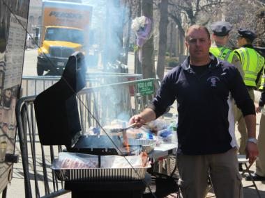 Officers from the New York Police Department and Port Authority Police Department gave food and drinks to first responders and law enforcement agents in Boston following the April 15, 2013 bombing.