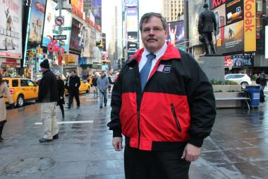 Times Square Alliance senior vice president for operations Tom Harris stands in Father Duffy Square Thursday, April 4, 2013.
