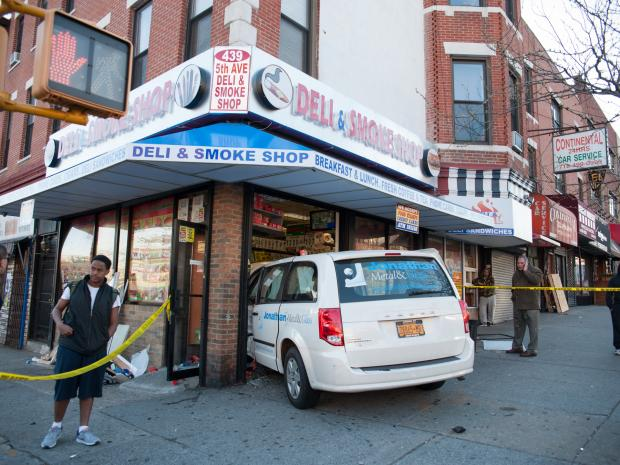 A crash at the intersection of Fifth Avenue at Ninth Street in Brooklyn lead to a van jumping the curb and crashing into the 5th Avenue Deli and Smoke Shop Store at 439 5th Avenue. Minor injuries were reported.