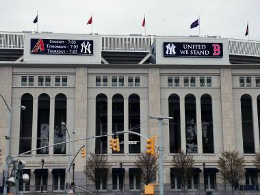 Yankee Stadium posted a message of support before a game on April 16, 2013.