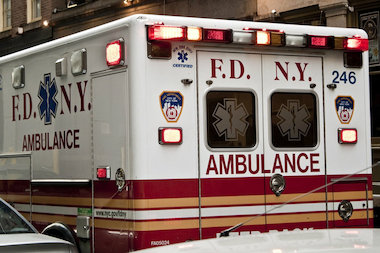A police officer was taken to the hospital after being struck by a vehicle while chasing after a prisoner who escaped from the 25th Precinct in East Harlem Wednesday afternoon.