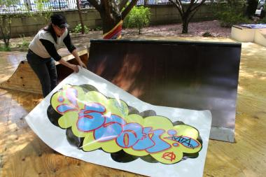 A Bronx art collective created a skateable installation outside the historic Grand Concourse mansion.