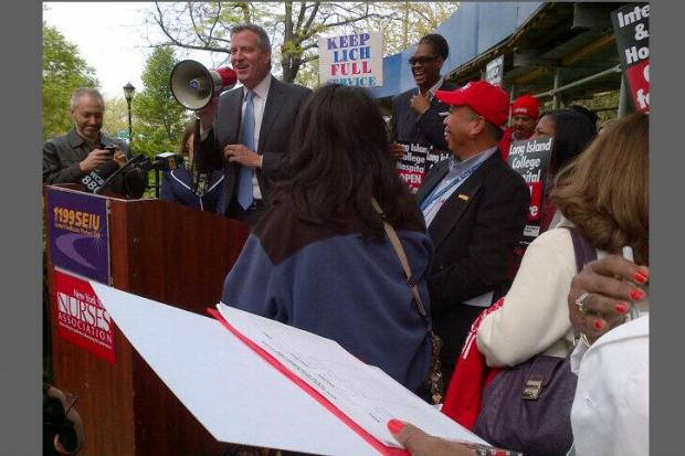 Public officials and supporters gathered outside LICH, May 6, 2013.