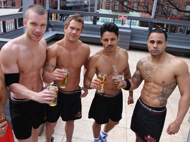 <p>Boxers HK's underwear-clad bartenders on the rooftop.</p>