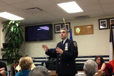 Capt. Thomas Conforti at a recent community council meeting.