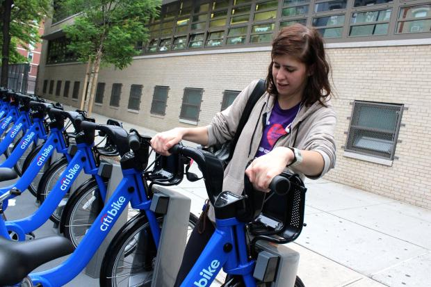 Ahead of Monday's launch of the bike share programs, bikes arrived at select stations in the East Village