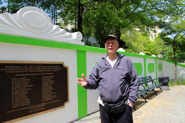 Woodside's Doughboy Park got a bright green makeover last month, but not everyone's liking the new look.