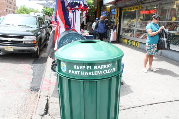 In an effort to keep the streets cleaner, East Harlem Councilwoman Mark-Viverito allocated $10,000 from her city council discretionary budget to purchase 18 larger capacity trash cans to be placed around the neighborhood.