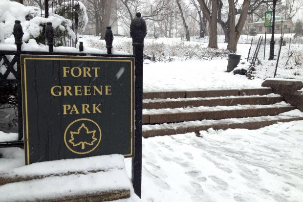 Fort Greene Park covered in snow.