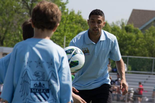 Players from Manchester City gave a clinic to players from Staten Island United as the team announced their donation of equipment destroyed by Hurricane Sandy.