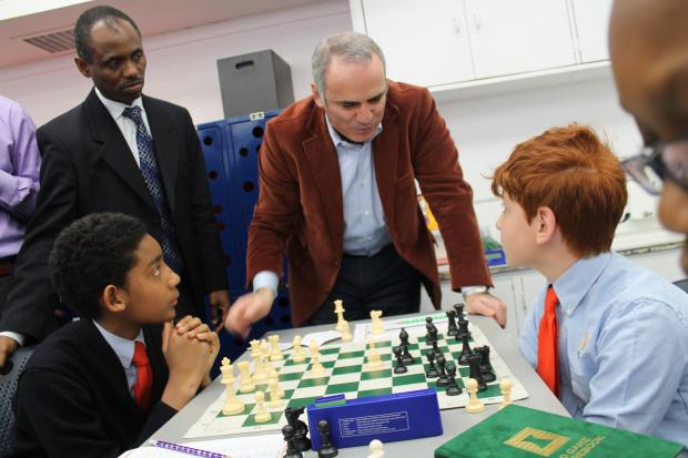 Chess sudents at Harlem Success Academy received a visit from retired Russian Grandmaster Garry Kasparov on May 1. 2013.