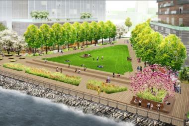 The proposed Hallets Point development would include a large park and lawn along the Astoria waterfront, which would be open to the public.