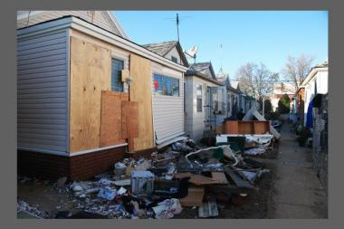Damage caused by Hurricane Sandy to Brooklyn homes.