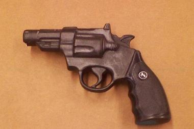 Marleik Patterson, 23, was arrested in The Bronx on May 29 after allegedly carrying an imitation pistol, shown here.