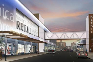The initial plan for a department store in downtown Jamaica included 160,000 square feet of retail space and a 550-space parking garage.