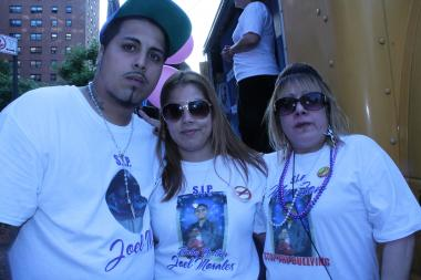 "From left to right, Morales' brother Richard Salazar, 26, Morales' sister Richeliss Salazar, 24. and his mother Lizbeth Babilonia, 43. The paor say the last year has been difficult. ""Schools need to be more aware of when this bullying is going on and do something about it, not just stand there,"" said Richeliss Salazar."