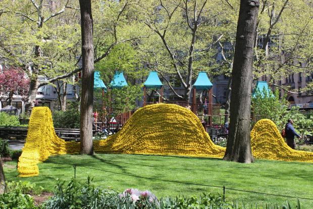 The park's latest art installation is made from 1.4 feet of rope and more than 3,500 gallons of paint.