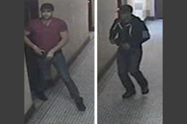 The men in this surveillance image are suspected of forcing their way into a Kingsbridge apartment at gunpoint and robbing a 44-year-old resident Tuesday, May 7, 2013, police said.