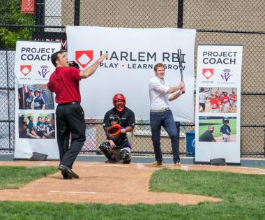 Prince Harry's  visit to Harlem RBI  — an East Harlem nonprofit youth development agency that runs activities like baseball clinics and educational programs to help young people— was part of the announcement of a new partnership with The Royal Foundation of The Duke and Duchess of Cambridge and Prince Harry to offer coaching opportunities for local youth.