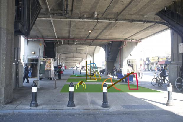 The DOT is installing three sculptures underneath the 40th Street Station in Queens next month.