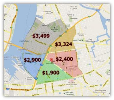 A map by MNS Real Estate shows extreme price discrepancies in different parts of the neighborhood.