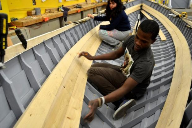 Students at Rocking the Boat in Hunts Point spent one-and-a-half years building the vessel on commission for a museum.