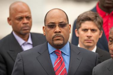 State Sen. John Sampson (pictured) leaves Brooklyn Federal Court on Monday May 6, 2013. East New York candidate Sean Henry is running to replace the scandal-scarred Sampson in Albany.