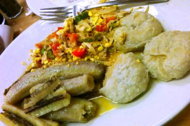 Ackee and saltfish with plantains and yam dumplings at Soulé Caribbean food spot in Clinton Hill.