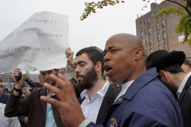 New York State Senator and Brooklyn Borough President hopeful Eric Adams at a community rally in Crown Heights in October 2012.