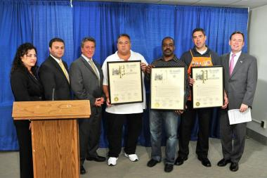 From left to right: State Sen. Diane Savino, Assemblyman Joe Borelli, Assemblyman Matthew Titone, Tom Cunsolo, Lorenzo Hodges, William Burdick, and Assemblyman Michael Cusick. Cunsolo, Hodges and Burdick were given proclamations for their recovery efforts after Hurricane Sandy.