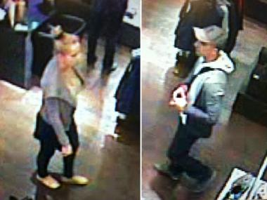 Police are searching for the man and woman depicted in these surveillance images for allegedly stealing a watch from a Midtown Porsche Design store Wednesday, May 1, 2013.