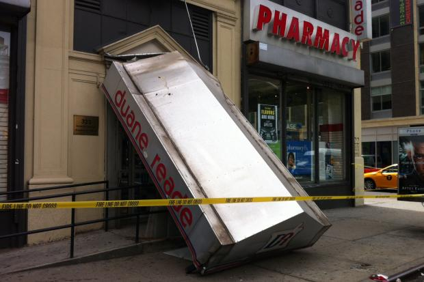 A taxi driver crashed into a Duane Reade in Chelsea.