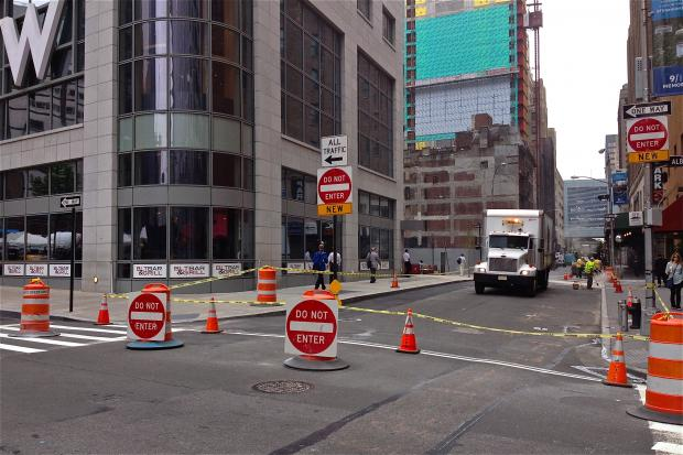 A new pedestrian plaza is being constructed on Washington Street, between Albany and Carlisle Street.