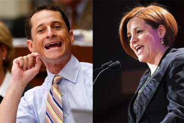 Candidates Anthony Weiner and Christine Quinn debated for the first time Wednesday night.