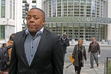 Brooklyn Assemblyman William F. Boyland Jr. walks from the U.S. District Courthouse in Downtown Brooklyn on Monday afternoon, May 13, 2013. He pleaded not guilty to mail fraud charges.