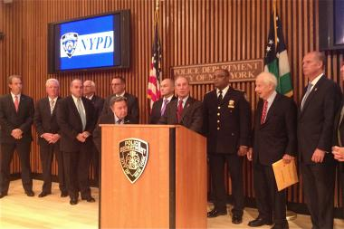 Mayor Michael Bloomberg, with Police Commissioner Raymond Kelly and a host of city district attorneys and police union officials, blasted two proposed bills that would expand the definition of racial profiling and create an inspector general for the NYPD at press conference on June 24, 2013 at 1 Police Plaza.