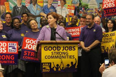 Christine Quinn enthusiastically accepted SEIU 32BJ's endorsement.