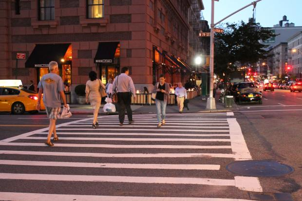 The 20th Precinct said pedestrians have to do their part in keeping out of intersections.