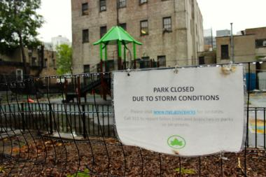 Andrews Grove in Long Island City, where a large portion of the playground was closed off for months because of Hurricane Sandy damaged. The park fully reopened last week.