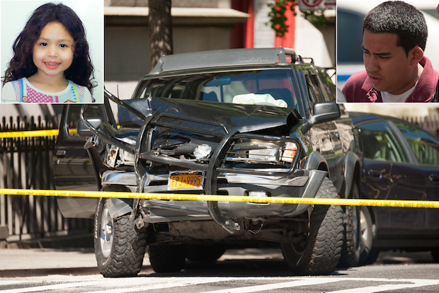 A 4-year-old girl was killed and her grandmother was in critical condition after an SUV fleeing police jumped a curb on the Upper West Side and pinned them against a building Tuesday morning, sources and witnesses said.