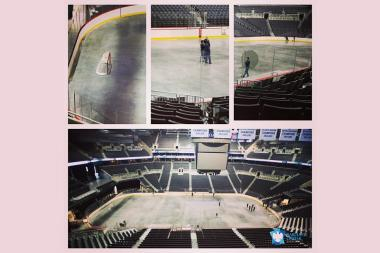 The Barclays Center gave fans a first official glimpse of the New York Islanders' future home on Tuesday when it posted a photo of the arena's ice hockey set up.