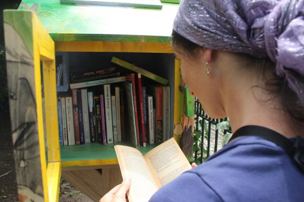 The Little Free Library, which opened Sunday in Bennett Park, is an honor-system book trading post.