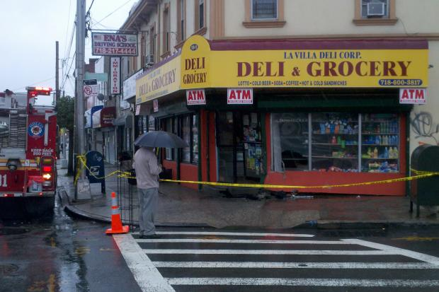 Seven people were injured after a car hit a corner deli in Hollis Friday morning, June 7, 2013.
